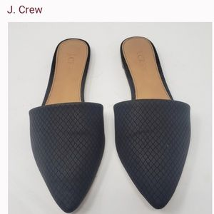 J CREW POINTED TOE SLIDES FLATS  BLACK SIZE 10